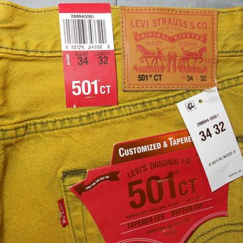 NEW LEVIS levi's 501 JEANS 34 x 32 yellow TAPERED LEG BUTTON FLY COTTON mens NWT