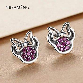 Stud Earrings Authentic 925 Sterling Purple Crystal CZ Cute Carton Mouse For Women Earrings Couples Jewelry Presents