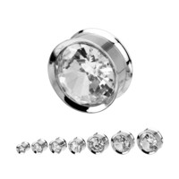 "FreshTrends Bezel-Set CZ Surgical Steel Double Flared Plug - 2G - 1""- Sold Individually"