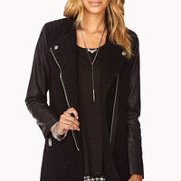 LOVE 21 Cool-Girl Biker Coat Black
