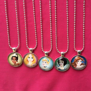 Disney Princess Necklaces, Disney Princess Party Favors, Tiana, Rapunzel, Cinderella, Belle, Snow White, Girls Party Favors, Princesses