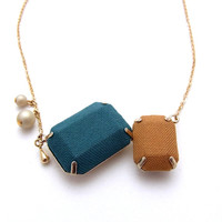 Fabric  2 Jewel Necklace - J