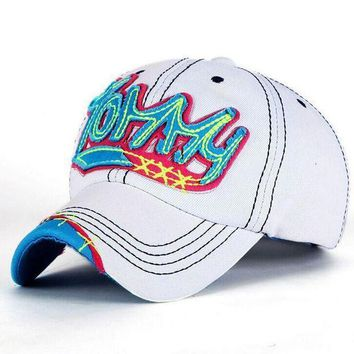 1 Pcs Korea Leisure Fashion Women Baseball Caps Spring And Summer Letter Tommy Snapback Cowboy Hat 4 Colors Free Shipping