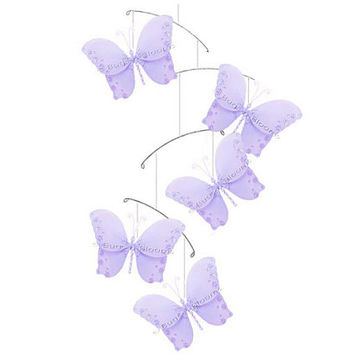 Butterfly Mobile Twinkle Nylon Hanging Ceiling Butterflies Mobiles Purple Decorations Baby Nursery Room Girls Bedroom Birthday Baby Shower