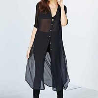 BDG Extreme Length Maxi Button-Down Shirt-