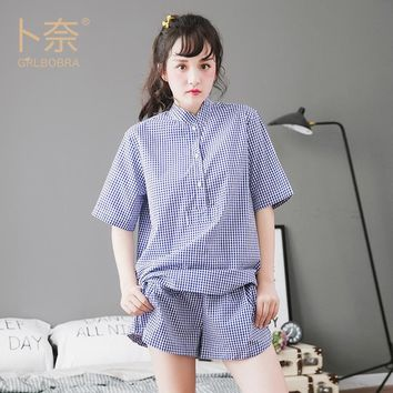 GRLBOBRA Summer Women Cotton Pajamas Sets Women Cute Blue Plaid Short Pijamas Casual Shorts  Home Clothes For Women Sleepwear