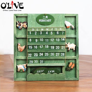 Wooden Calendars Crafts Vintage Home Decor Hanging Wall Planner Mediterranean Style Manual Calendar With Key Box