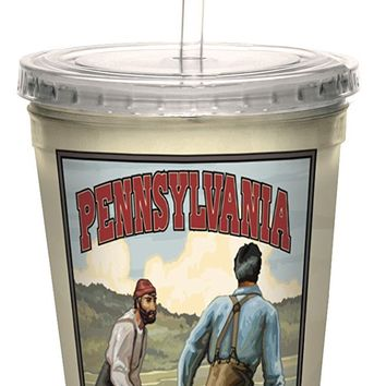 Tree-Free Greetings cc33284 Nostalgic Pennsylvania Log Rollers by Paul A. Lanquist Artful Traveler Double-Walled Cool Cup with Straw, 16-Ounce
