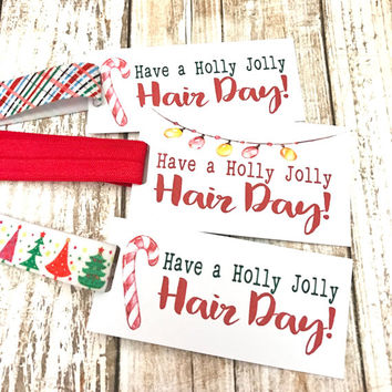 HOLIDAY HEADBAND Hair Tie Gift Tag | Stocking Stuffer - gift tags, holiday tag, hair tie favor, merry christmas, happy holidays