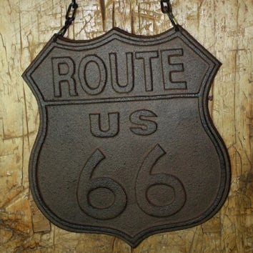 Cast Iron Route 66 Hanging Sign