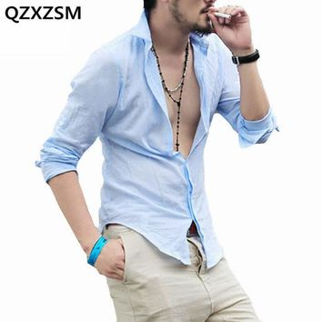 New Arrival Shirts Cotton Linen Men Shirt Long Sleeve Summer Style Sexy Slim Fit Men Clothes