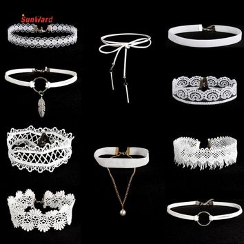 OTOKY 10 pcs Leather Choker Necklaces Set For Women Steampunk Collar Lace Necklace Jewelry Gothic Tattoo Collier Femme White