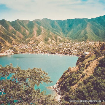 "Taganga Colombia Photography, Coastal Photos, ""Taganga"", Beach Retro Photography, Beach Decor, Cottage Decor"