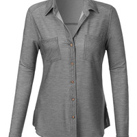 LE3NO Womens Lightweight Distressed Button Down Shirt with Roll Up Sleeves