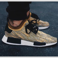 "Women ""Adidas"" NMD Boost Casual Sports Shoes Yellow black lace up"