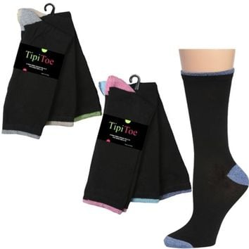 Women's Two Toned Crew Socks 3 Pair Pack - CASE OF 60