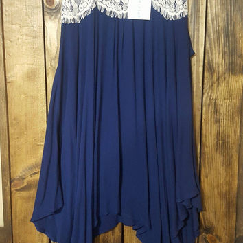 Hold Me Close Sleeveless Tunic in Navy