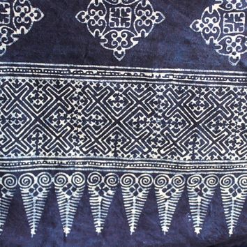 King Duvet Cover Natural Hmong Indigo Batik Cotton Quilt Blanket Bohemian Bedding