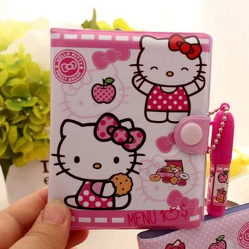 1Pcs/set Kawaii Hello Kitty Notebook with Ballpoint Pen Notepad Diary Book Exercise Book School Office Supply