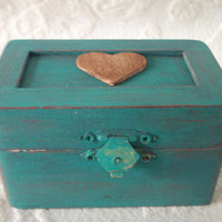 Old Barnwood Themed Wedding Ring Bearer Pillow Box in Teal and Rustic Barn Red Country Wedding