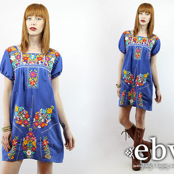 Blue Mexican Dress Embroidered Dress Hippie Dress Hippy Dress Boho Dress Festival Dress Vintage 70s Embroidered Mini Dress S M Blue Dress