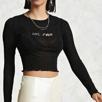 Glitter Mesh Knit Crop Top