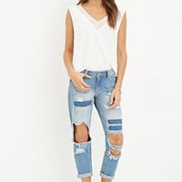 Destroyed Low-Rise Capri Jeans