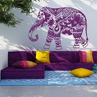 Vinyl Decal Elephant Mandala Floral Patterns Buddha Ganesh Wall Meditation Eastern Art Sticker Zen Interior Bohemian Bedding Bedroom Nursery Living Room Yoga Studio Home Décor Murals M111