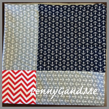 Personalized Baby Blanket, Anchor Baby Blanket, Nautical Baby Blanket, Nautical Stroller Blanket, Anchor Car Seat Blanket, Ready to Ship!