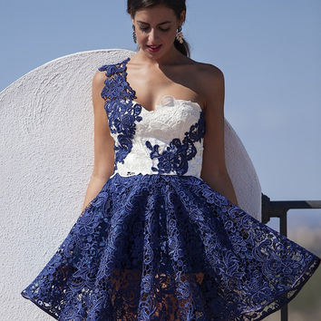 Sexy One Shoulder Navy Blue White Lace Cocktail Dresses 2017 vestido social New Arrival A Line Arabic Party Gowns