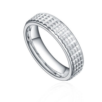 Stainless Steel 5mm Square Pattern Ring