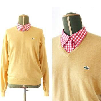 Vintage LACOSTE yellow sweater - V Neck Men's sweater - size 5 Medium - Vneck jumper