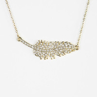 Rhinestone Feather Necklace - Urban Outfitters