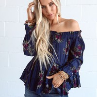 Double Dare Floral Off The Shoulder Top - Floral Navy