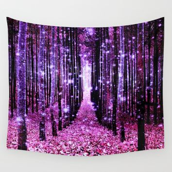 Magical Forest Pink & Purple Wall Tapestry by 2sweet4words Designs
