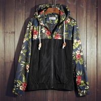 Men's Floral Print Slim Fit Quilted Lightweight Jackets with Hood