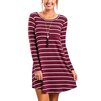 HOOYON Women's Fall Long Sleeve Casual Striped Dress with Pockets