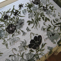 "Off-White/Grey/Green Burnout Scarf, Table/Window Cover; Amazing Velvet Butterflies & Flowers w/ Fringe; Large 58"" Bohemian Scarf"