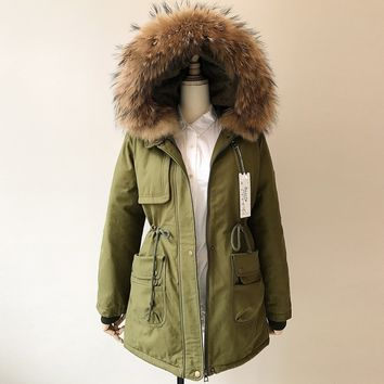 Winter Fashion Women Cotton Jackets Lovers Work Clothes Medium-long Thick Lambswool Real Raccoon Fur Collar Cotton-padded Coat