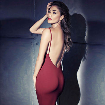 Spaghetti Strap Backless Sleeveless Knee-length Dress