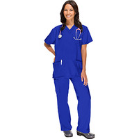 allheart Basics Women's 2 Pocket Top and Cargo Pant Scrub Set