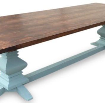 Chestnut and Duck Egg Blue Fancy Farm Table