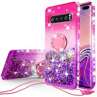Glitter Phone Case Kickstand Compatible for Samsung Galaxy S10E Case,Ring Stand Liquid Floating Quicksand Bling Sparkle Protective Girls Women for Galaxy S10E - (Hot Pink Gradient)