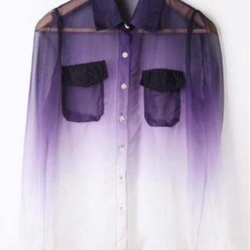 Purple White Gradient Pockets Long Sleeve Sheer Blouse S068