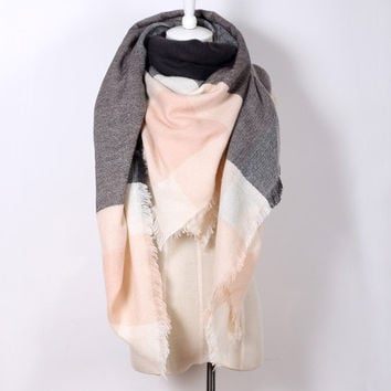 Piper Plaid Scarf in Pink & Grey