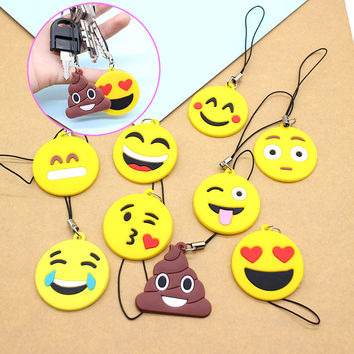 emoji Funny face Smile keychains color people cartoon Keychain little cute yellow Stool round Mermaid love heart key chain cover