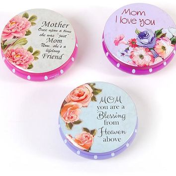 round tin jewelry box in a counter top display for mom Case of 48