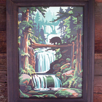 Vintage Paint by Number Bear waterfall Woodland Scene, Bear PBN
