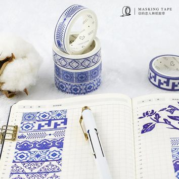 DIY Japanese Paper Washi Tapes Blue and White Porcelain Masking Tapes Decoration Adhesive Tapes Stickers Stationery 30mm*7m