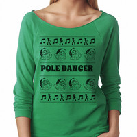 Pole Dancer Women's Off Shoulder Santa Ugly Christmas Sweater